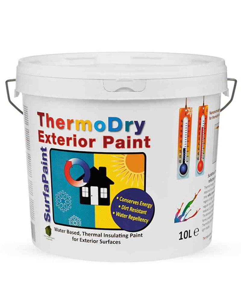 Surfapaint thermodry painting heat to the exterior walls for Exterior water based paint