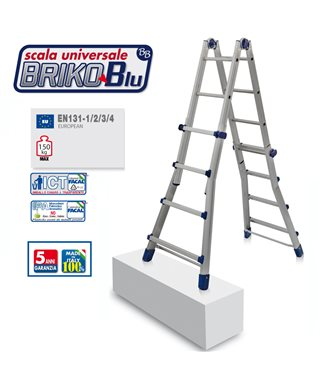 ALUMINIUM LADDER MULTI-PURPOSE FACAL BRIKO BLUE BB2 4+4 STEPS, EN131